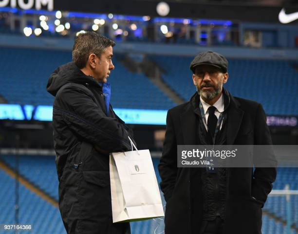 Gianluca Vialli and FIGC Vice Commissioner Alessandro Costacurta talk prior to the International friendly match between Italy and Argentina at Etihad...