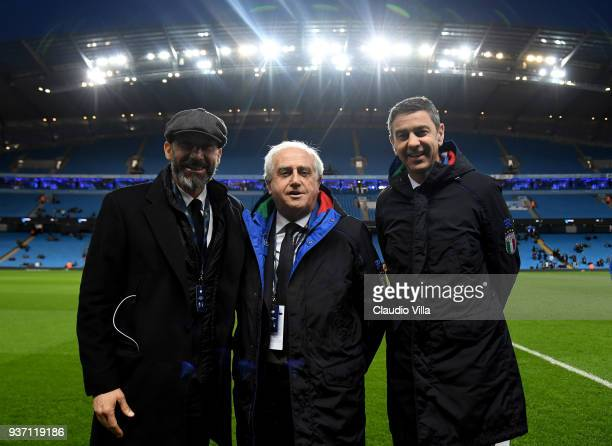 Gianluca Vialli FIGC Commissioner Massimo Fabbricini and FIGC Vice Commissioner Alessandro Costacurta pose prior to the International friendly match...