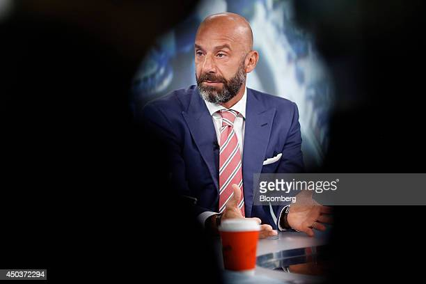 Gianluca Vialli former Italian international football player and former manager of Chelsea FC reacts during a Bloomberg Television interview in...