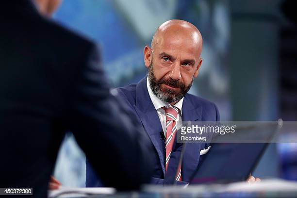 Gianluca Vialli former Italian international football player and former manager of Chelsea FC right pauses during a Bloomberg Television interview in...