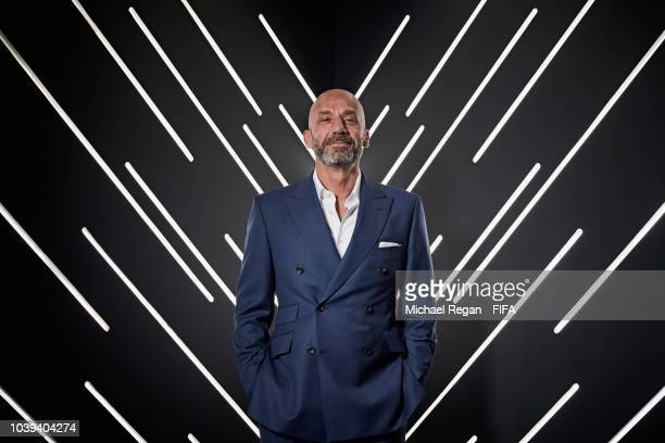 Gianluca Vialli is pictured inside the photo booth prior to The Best FIFA Football Awards at Royal Festival Hall on September 24 2018 in London...