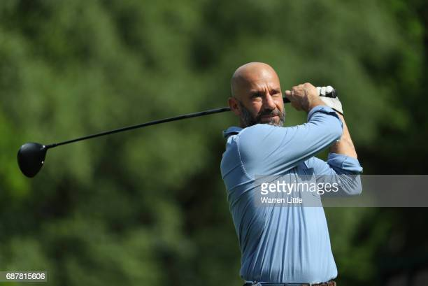 Gianluca Vialli of Italy in action during the pro am ahead of the BMW PGA Championships on the West Course at Wentworth on May 24 2017 in Virginia...