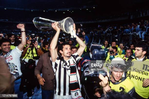 Gianluca VIALLI of Juventus celebrate the victory with the trophy during the UEFA Cup Final second leg match between Juventus Turin and Borussia...
