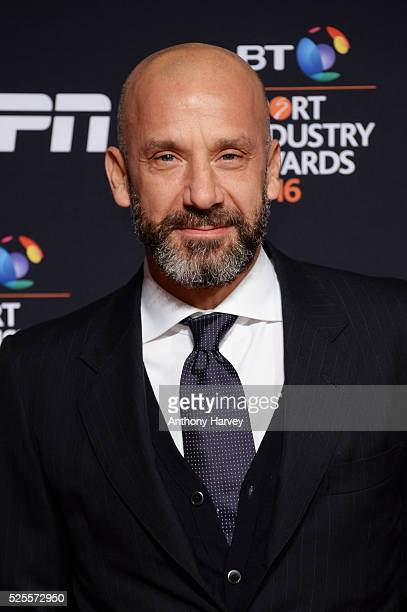 Gianluca Vialli poses on the red carpet at the BT Sport Industry Awards 2016 at Battersea Evolution on April 28 2016 in London England The BT Sport...