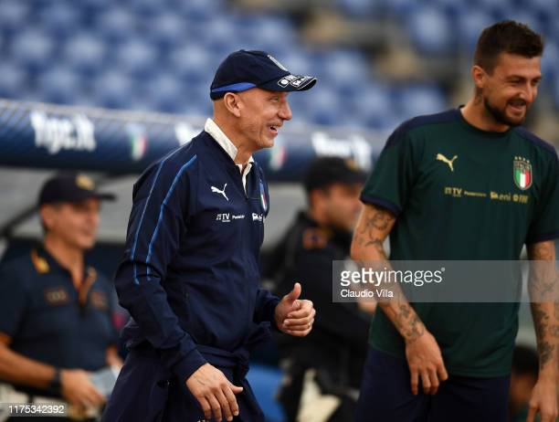 Gianluca Vialli smiles during the training session at Stadio Olimpico on October 11 2019 in Rome Italy