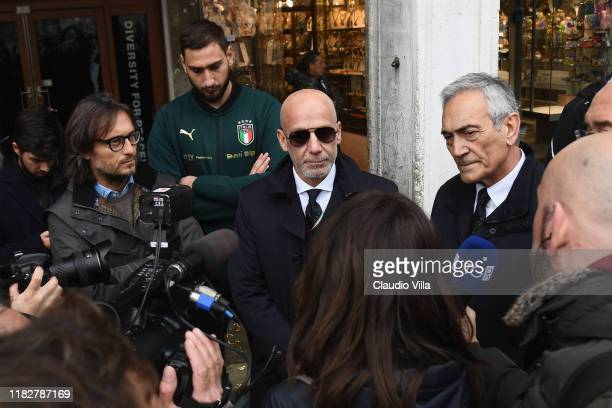 Gianluca Vialli visits Venice during the high water on November 16 2019 in Venice Italy