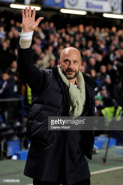 Gianluca Vialli waves to the fans during the Barclays Premier League match between Chelsea and Manchester United at Stamford Bridge on March 1 2011...