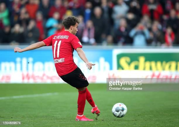 Gian-Luca Waldschmidt of Sport-Club Freiburg scores his team's first goal during the Bundesliga match between Sport-Club Freiburg and TSG 1899...