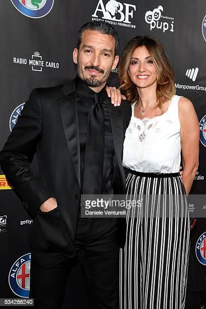 Gianluca Zambrotta and Valentina Zambrotta walk the red carpet of Bocelli and Zanetti Night on May 25 2016 in Rho Italy