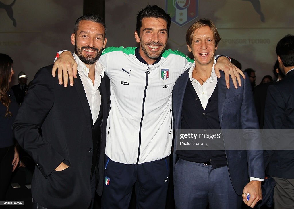 Gianluca Zambrotta, Gianluigi Buffon and Massimo Ambrosini attend the launch of the new Puma home kit at Palazzo Vecchio on November 9, 2015 in Florence, Italy.