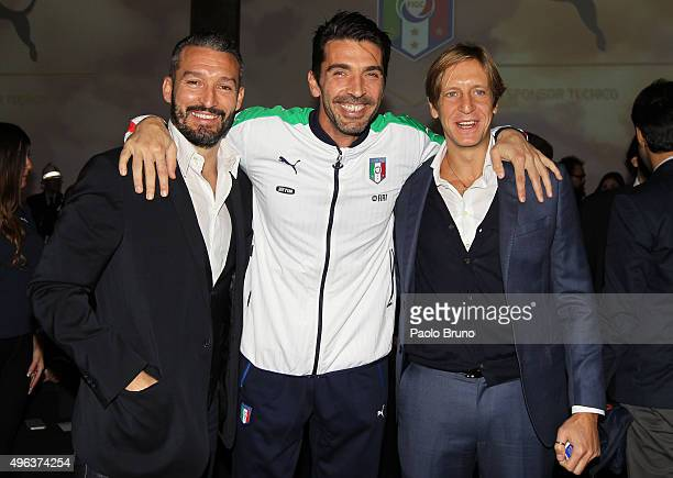 Gianluca Zambrotta Gianluigi Buffon and Massimo Ambrosini attend the launch of the new Puma home kit at Palazzo Vecchio on November 9 2015 in...