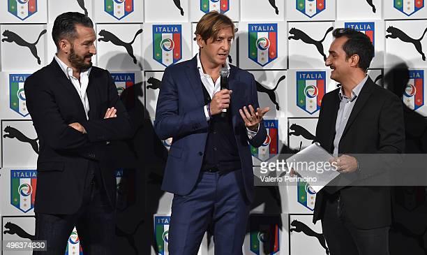 Gianluca Zambrotta Massimo Ambrosini and Nicola Savino attend the launch of new Puma home kit at Palazzo Vecchio on November 9 2015 in Florence Italy