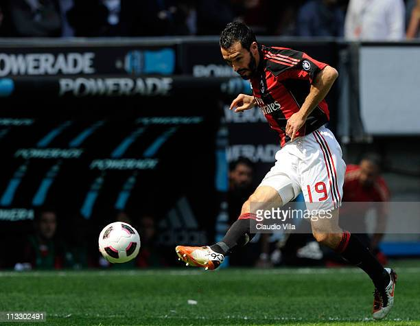 Gianluca Zambrotta of AC Milan during the Serie A match between AC Milan and Bologna FC at Stadio Giuseppe Meazza on May 1 2011 in Milan Italy