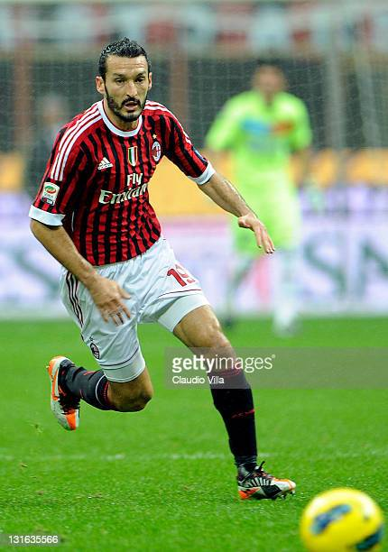 Gianluca Zambrotta of AC Milan in action during the Serie A match between AC Milan and Catania Calcio at Stadio Giuseppe Meazza on November 6, 2011...