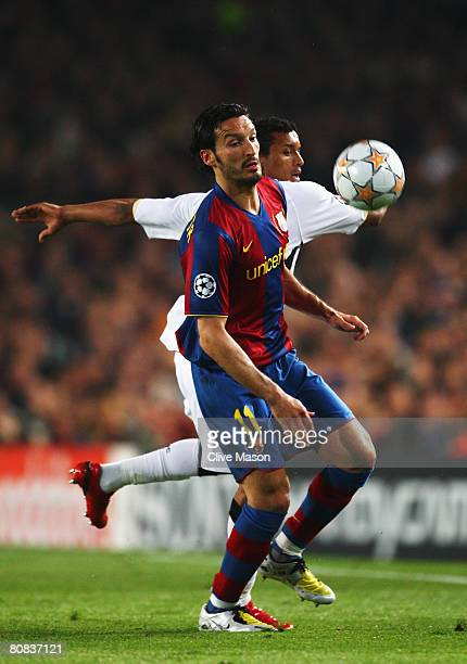 Gianluca Zambrotta of Barcelona gets to the ball ahead of Nani of Manchester United during the UEFA Champions League SemiFinal first leg match...