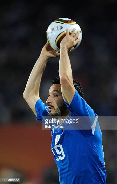 Gianluca Zambrotta of Italy about to throw the ball during the 2010 FIFA World Cup South Africa Group F match between Slovakia and Italy at Ellis...