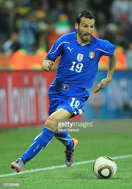 Gianluca Zambrotta of Italy runs with the ball during the 2010 FIFA World Cup South Africa Group F match between Italy and New Zealand at the...