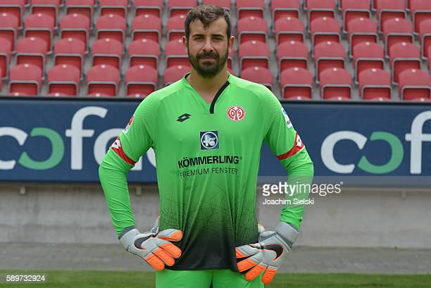 Gianlucca Curci poses during the official team presentation of 1 FSV Mainz 05 at Opel Arena on July 25 2016 in Mainz Germany