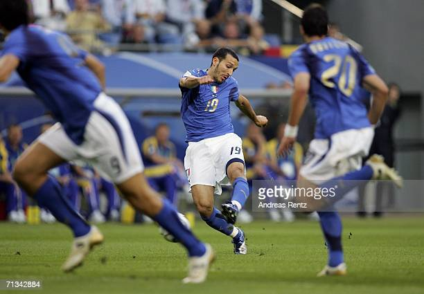 Gianluci Zambrotta of Italy shoots and scores the opening goal during the FIFA World Cup Germany 2006 Quarterfinal match between Italy and Ukraine at...
