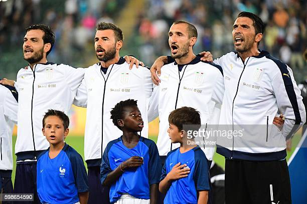 Gianlugi Buffon of Italy and Giorgio Chiellini of Italy during the friendly match between Italy and France at Stadio San Nicola on September 1 2016...