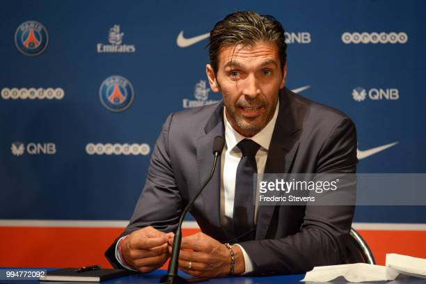 Gianluiggi Buffon of Paris SaintGermain answers to the media during his official presentation after signing for PSG at Parc des Princes on July 9...