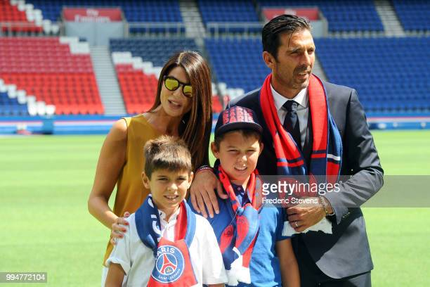 Gianluiggi Buffon pose with the family during his official presentation after signing for PSG at Parc des Princes on July 9 2018 in Paris France