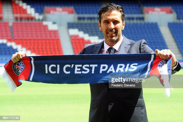 Gianluiggi Buffon poses during his official presentation after signing for PSG at Parc des Princes on July 9 2018 in Paris France
