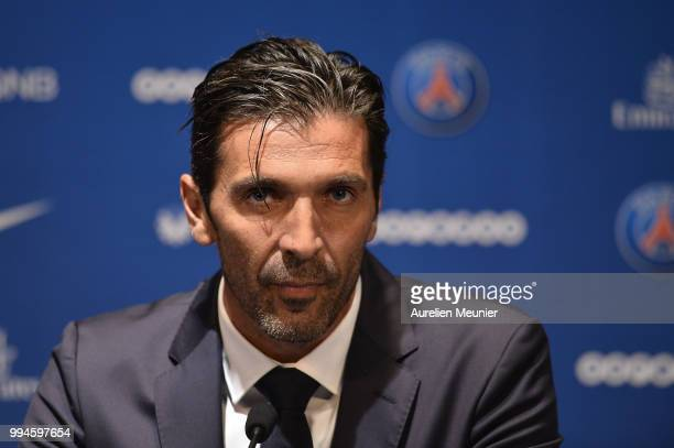 Gianluigi Buffon addresses the press during a press conference after signing with the Paris SaintGermain Football Club at Parc des Princes on July 9...