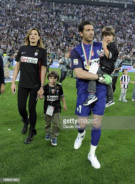 Gianluigi Buffon Alena Seredova and with their children celebrate after the Serie A match between Juventus and Cagliari Calcio at Juventus Arena on...