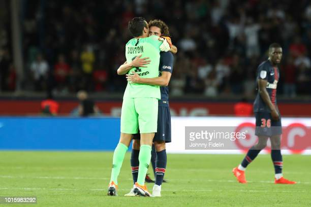 Gianluigi Buffon and Adrien Rabiot of PSG during the French Ligue 1 match between Paris Saint Germain and Caen at Parc des Princes on August 12 2018...