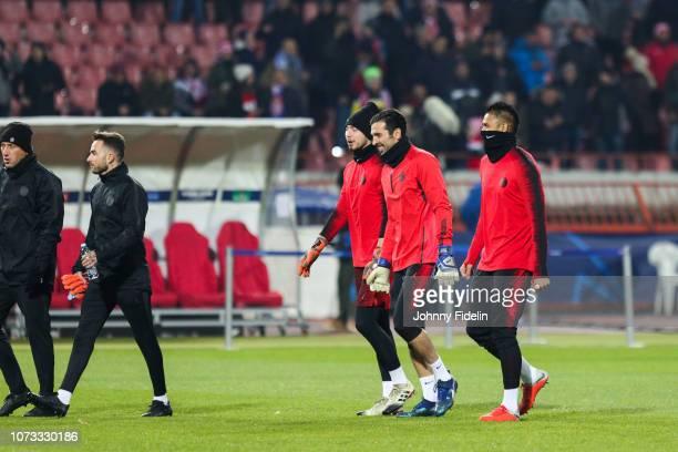 Gianluigi Buffon and Alphonse Areola of PSG before the UEFA Champions League match between Red Star Belgrade and Paris Saint Germain at Rajko Mitic...