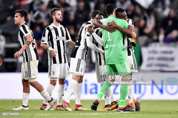 Gianluigi Buffon and Blaise Matuidi of Juventus celebrate at the end of the serie A match between Juventus and Atalanta BC on March 14 2018 in Turin...