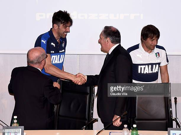 Gianluigi Buffon and COO FCA Alfredo Altavilla attend Unveil New Panda Azzurri Car at Coverciano on May 26 2016 in Florence Italy