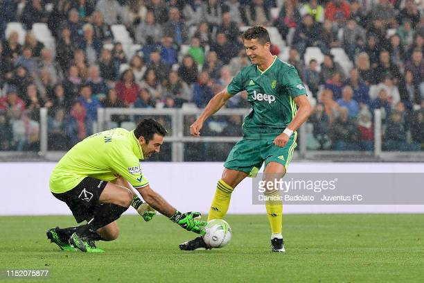 Gianluigi Buffon and Cristiano Ronaldo during the 'Partita Del Cuore' Charity Match at Allianz Stadium on May 27, 2019 in Turin, Italy.
