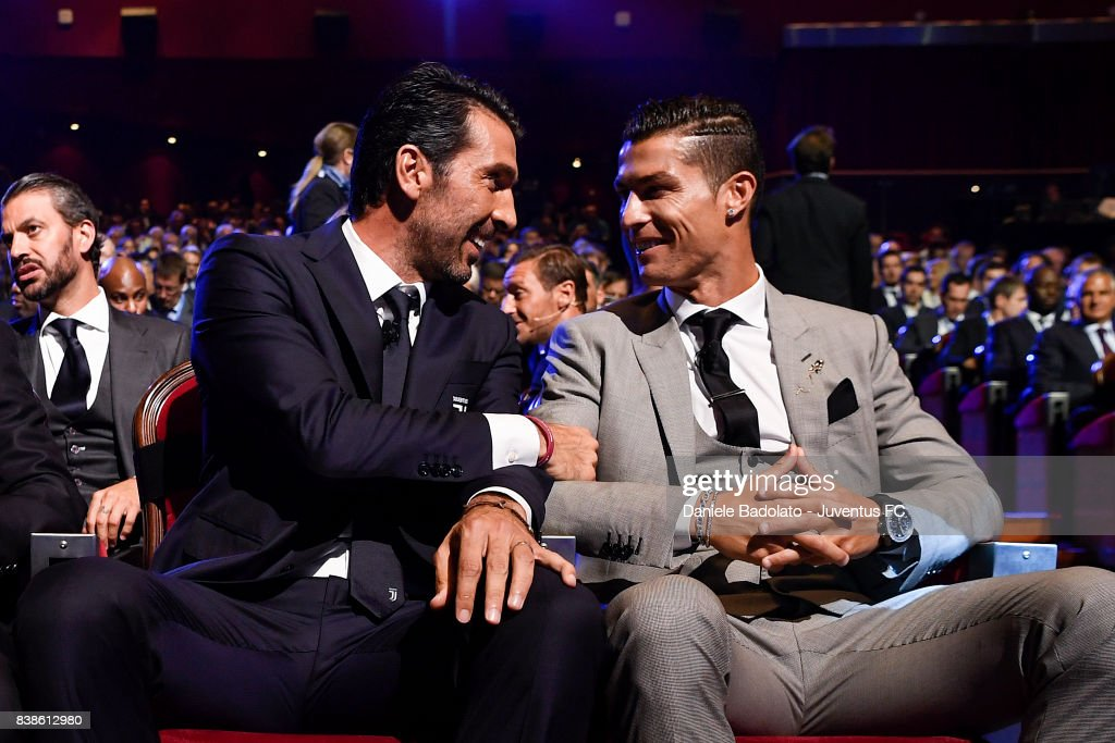 Gianluigi Buffon and Cristiano Ronaldo during the UEFA Champions League 2017/18 Draw on August 24, 2017 in Monaco, Monaco.