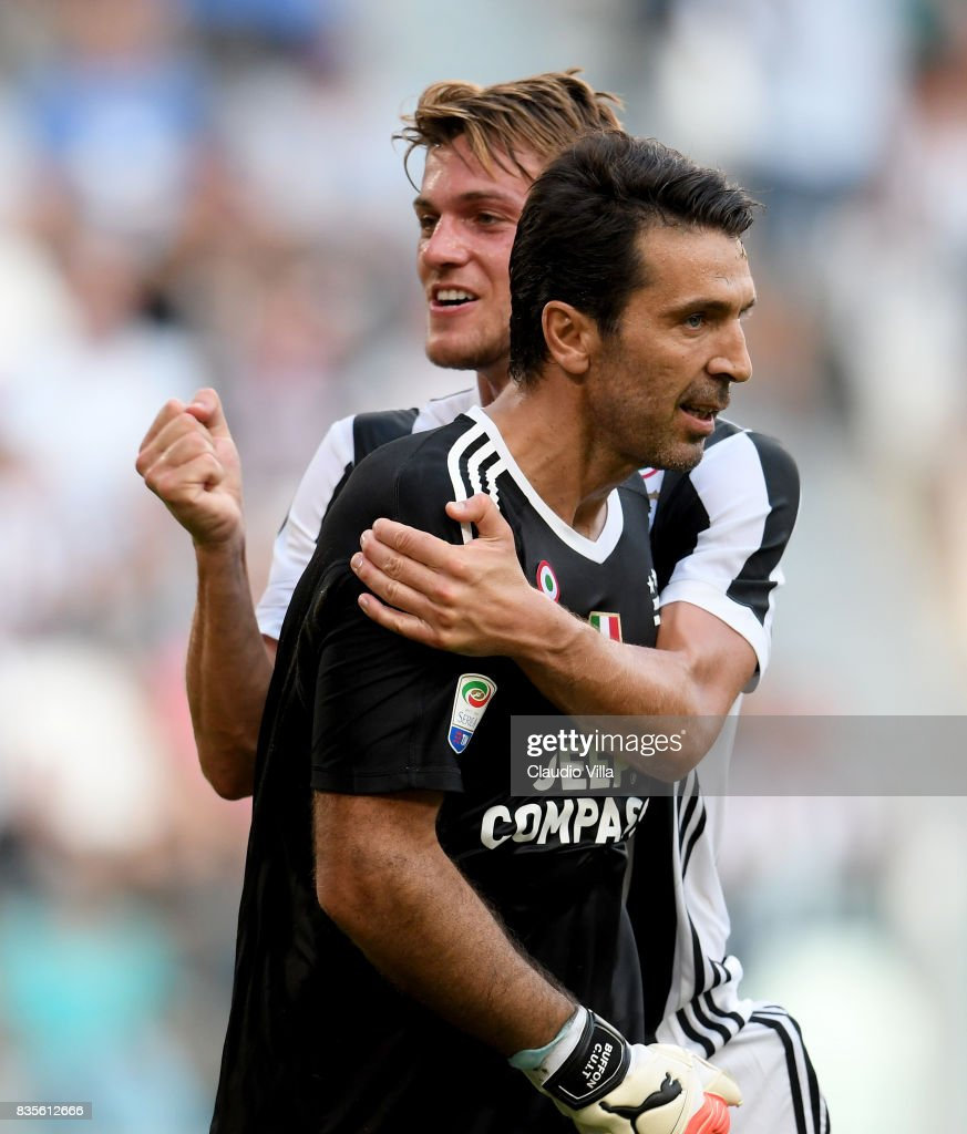 Gianluigi Buffon and Daniele Rugani of Juventus FC reacts during the Serie A match between Juventus and Cagliari Calcio at Allianz Stadium on August 19, 2017 in Turin, Italy.