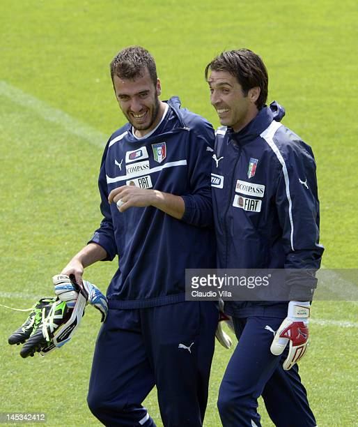 Gianluigi Buffon and Emiliano Viviano of Italy during a training session at Coverciano on May 27 2012 in Florence Italy