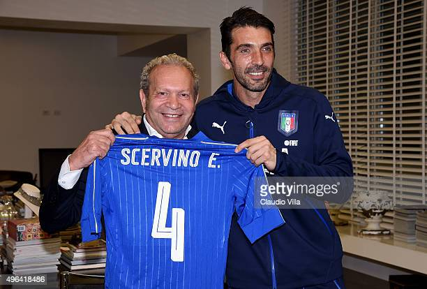 Gianluigi Buffon and Ermanno Scervino visit Ermanno Scervino Atelier on November 9 2015 in Florence Italy