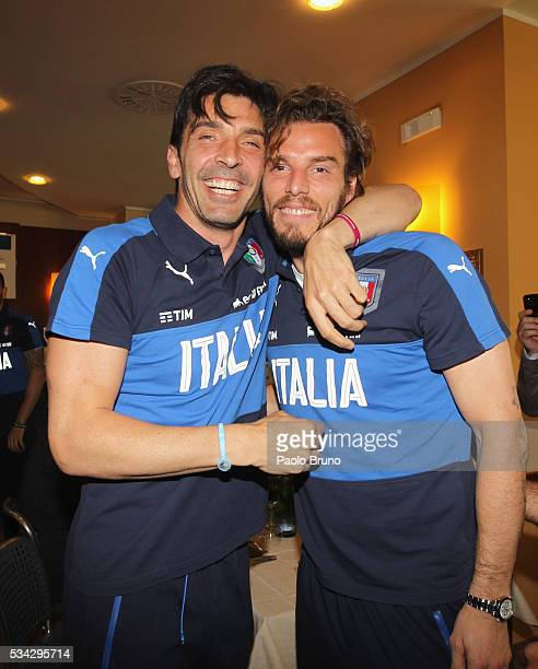 Gianluigi Buffon and Federico Marchetti attend Italian Football Federation Sponsor's Day at Coverciano on May 24 2016 in Florence Italy