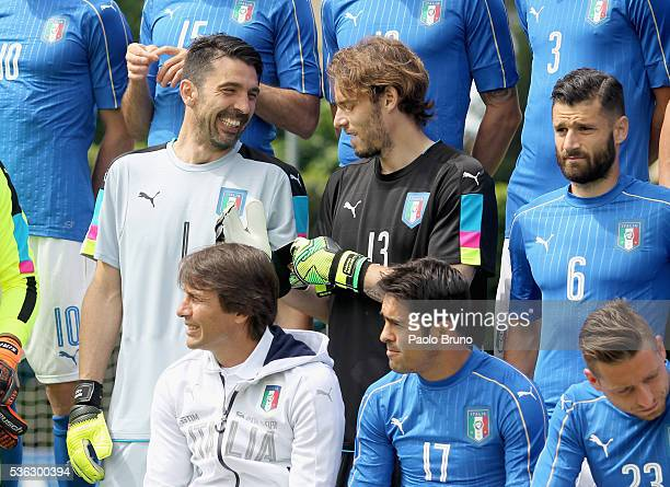 Gianluigi Buffon and Federico Marchetti of Italy pose for a team photo ahead of the UEFA Euro 2016 at Coverciano on June 1 2016 in Florence Italy