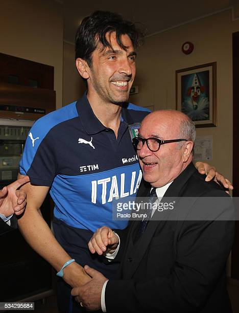 Gianluigi Buffon and FIGC President Carlo Tavecchio attend Italian Football Federation Sponsor's Day at Coverciano on May 24 2016 in Florence Italy