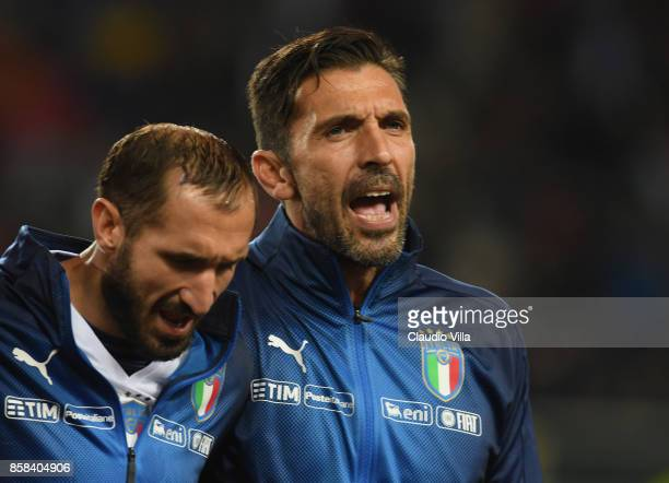 Gianluigi Buffon and Giorgio Chiellini of Italy sing their national anthem prior to the FIFA 2018 World Cup Qualifier between Italy and FYR Macedonia...