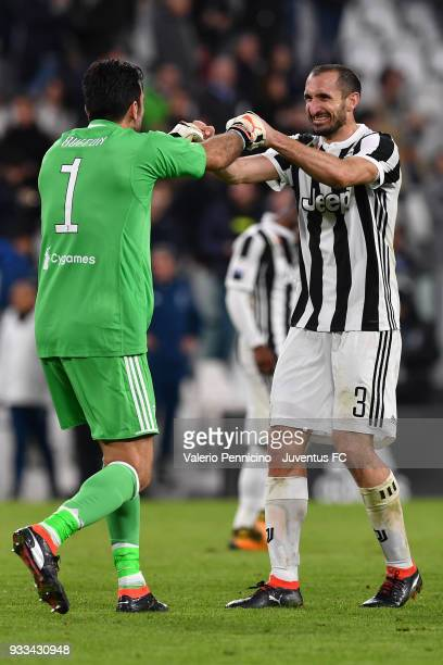Gianluigi Buffon and Giorgio Chiellini of Juventus celebrate victory at the end of the Serie A match between Juventus and Atalanta BC on March 14...