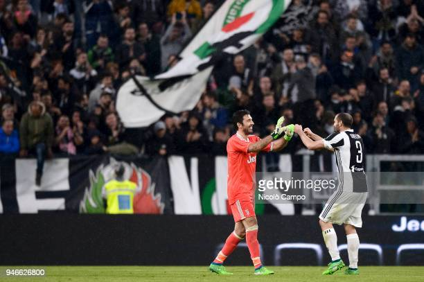 Gianluigi Buffon and Giorgio Chiellini of Juventus FC celebrate the victory at the end of the Serie A football match between Juventus FC and UC...