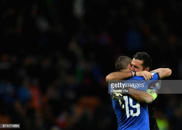 Gianluigi Buffon and Leonardo Bonucci of Italy dejected at the end of the FIFA 2018 World Cup Qualifier PlayOff Second Leg between Italy and Sweden...
