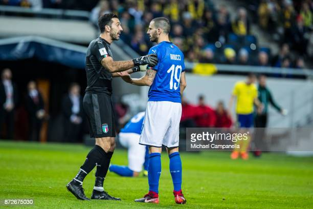 Gianluigi Buffon and Leonardo Bonucci of Italy speak during the FIFA 2018 World Cup Qualifier PlayOff First Leg between Sweden and Italy at Friends...