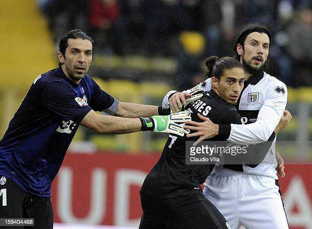 Gianluigi Buffon and Martin Cacere of Juventus FC and Cristian Zaccardo of Parma FC during the Serie A match between Parma FC and Juventus FC at...