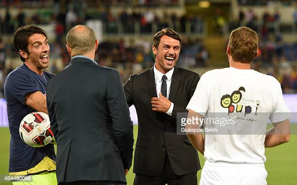 Gianluigi Buffon and Paolo Maldini before Interreligious Match for Peace at Olimpico Stadium on September 1 2014 in Rome Italy