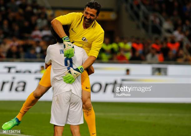 Gianluigi Buffon and Pippo Inzaghi during La Notte del Maesto the last match of Andrea Pirlo in Milan on May 21 2018