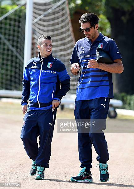 Gianluigi Buffon and Sebastian Giovinco during Italy Training Session at Coverciano on October 6 2014 in Florence Italy